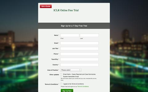 Screenshot of Signup Page iclr.co.uk - ICLR Online Free Trial - ICLR - captured Feb. 10, 2016