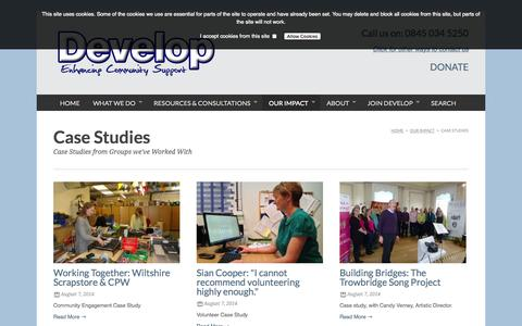 Screenshot of Case Studies Page developecs.org.uk - :: Case Studies - captured Oct. 5, 2014