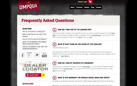 Screenshot of FAQ Page umpqua.com - Frequently Asked Questions | Umpqua - captured Oct. 4, 2014