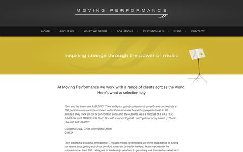 Screenshot of Testimonials Page movingperformance.com - Testimonials - What Our Clients Say | Moving Performance - captured Nov. 30, 2016