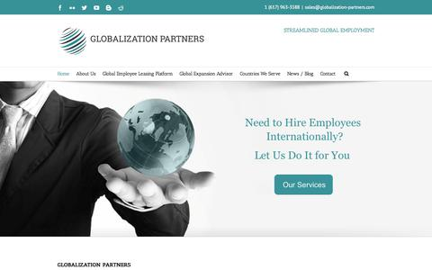 Screenshot of Home Page globalization-partners.com - Globalization Partners Global PEO, Global Employee Leasing - captured Sept. 30, 2014