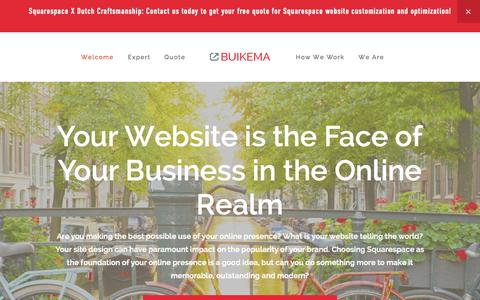 Screenshot of Home Page buikema.com - Squarespace specialists: BUIKEMA is an expert in customizing and optimizing websites - captured Sept. 30, 2014
