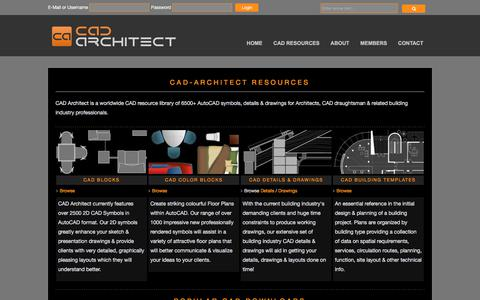 Screenshot of Home Page cad-architect.net - CAD-Architect.net | CAD Blocks, Details and Drawings for AutoCAD - captured Oct. 29, 2017
