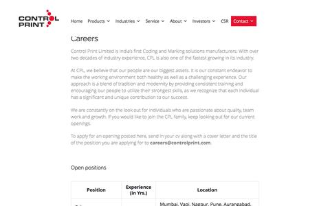 Screenshot of Jobs Page controlprint.com - Careers | Control Print - captured Nov. 12, 2016