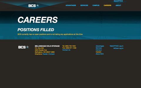 Screenshot of Jobs Page bellcold.com - Careers @ Bellingham Cold Storage - captured Oct. 5, 2014