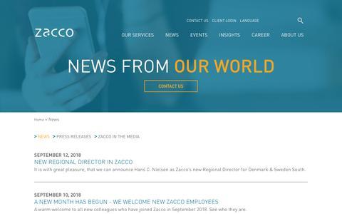 Screenshot of Press Page zacco.com - News | Zacco - captured Sept. 20, 2018