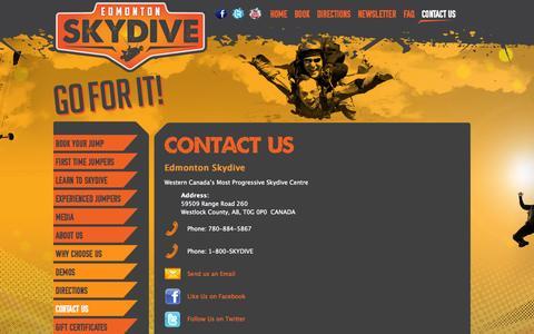 Screenshot of Contact Page edmontonskydive.com - Contact Us   Edmonton Skydive - captured Sept. 29, 2014