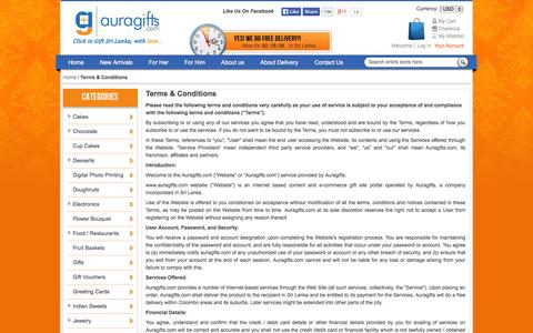 Screenshot of Terms Page auragifts.com - Terms & Conditions - captured Oct. 4, 2014