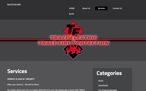 Screenshot of Services Page trace-electric.com - Services | - captured Aug. 17, 2015