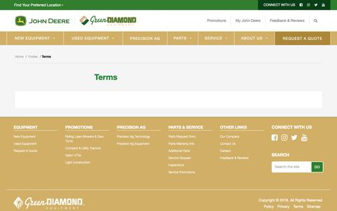 Screenshot of Terms Page green-diamond.ca - Terms - Green Diamond Equipment - captured Nov. 11, 2018