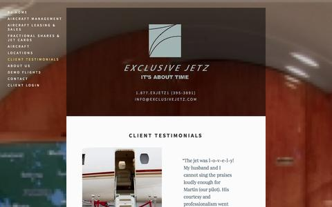 Screenshot of Testimonials Page exclusivejetz.com - Client Testimonials — Exclusive Jetz - captured Oct. 27, 2014