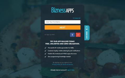 Screenshot of Signup Page biznessapps.com - Sign Up Free - Bizness Apps - captured April 22, 2016