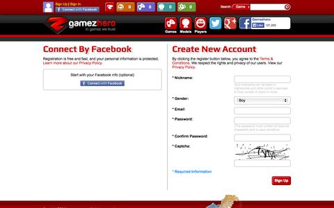 Screenshot of Signup Page gamezhero.com - Free Games Online at Gamezhero.com | Strategy games | Action games | Shooting games - captured Sept. 18, 2014