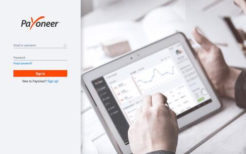 Screenshot of Login Page payoneer.com - Payoneer: Sign-in - captured Aug. 14, 2019