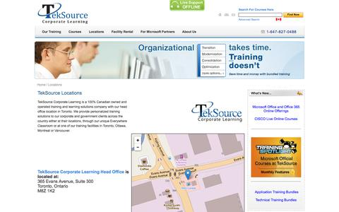 Screenshot of Locations Page teksource.ca - Management Training, Business Training and IT Training - TekSource Corporate Learning  / Locations - captured Nov. 3, 2014