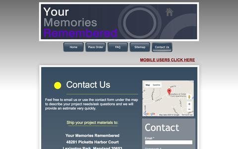 Screenshot of Contact Page yourmemoriesremembered.com - Contact Us - Your Memories Remembered - captured Feb. 26, 2016
