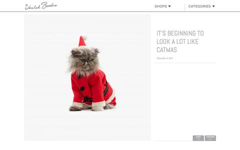 Screenshot of unitedbamboo.com - It's beginning to look a lot like Catmas  |  United Bamboo - captured March 19, 2016