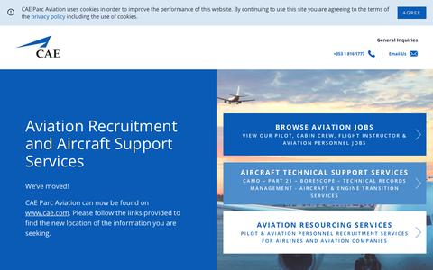 Screenshot of About Page caeparcaviation.com - CAE Aviation Recruitment and Aircraft Support Services - captured Sept. 1, 2019