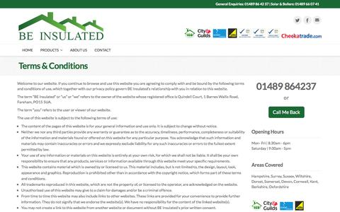 Screenshot of Terms Page beinsulated.co.uk - BE Insulated Ltd | Terms & Conditions - captured Sept. 30, 2014