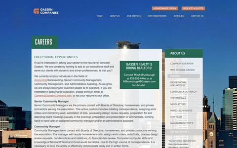 Screenshot of Jobs Page gassen.com - Careers at Gassen Companies - captured Nov. 1, 2014