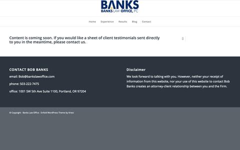 Screenshot of Testimonials Page bankslawoffice.com - Testimonials | Banks Law Office - captured Oct. 5, 2018