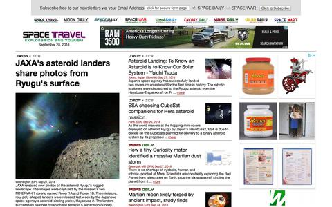 Screenshot of Home Page space-travel.com - Space Tourism, Space Transport and Space Exploration News - captured Sept. 28, 2018
