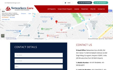 Screenshot of Contact Page networkersguru.com - Contact Us-Rank#1 Cisco Certification Training Institute in India - captured July 13, 2018