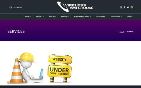 Screenshot of Services Page wirelesswarehouse.ca - Services - captured Sept. 20, 2018