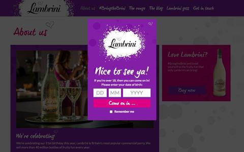 Screenshot of About Page lambrini.co.uk - About us | Lambrini - captured July 18, 2015