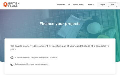 Screenshot of Developers Page britishpearl.com - Development financing - British Pearl - captured Aug. 4, 2018
