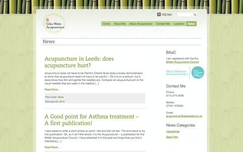 Screenshot of Press Page gileswatts.co.uk - Giles Watts Acupuncture Clinic, Leeds, West Yorkshire | News - captured Oct. 2, 2014