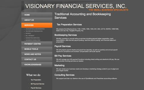 Screenshot of Services Page visionaryfinancialservices.com - Financial Services   Florida   St. Petersburg   FL - captured Nov. 1, 2014