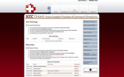 Screenshot of Jobs Page swissbiz.ca - Swiss Canadian Chamber of Commerce -- Careers - captured Oct. 6, 2014