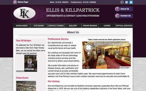 Screenshot of About Page ellisandkillpartrick.com - Ellis & Killpartrick Optometrists - Cheltenham, Bristol - captured Oct. 2, 2014