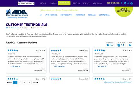 Screenshot of Testimonials Page adaptivedriving.com - Customer Testimonials Texas | Adaptive Driving Access - captured Oct. 7, 2017