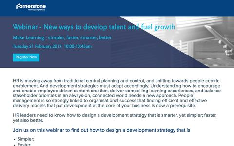 Screenshot of Landing Page cornerstoneondemand.com - Webinar - New ways to develop talent and fuel growth - captured March 27, 2018