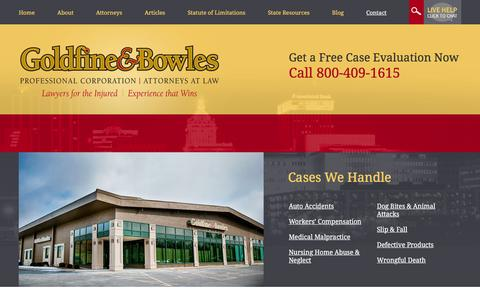 Screenshot of Contact Page goldfineandbowles.com - Contact | The Law Offices of Goldfine & Bowles, P.C. | Peoria, Illinois - captured Jan. 31, 2016