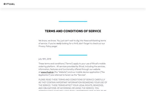 Screenshot of Terms Page ritual.co - Terms of Service - captured Nov. 12, 2019