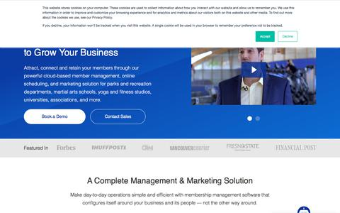 Screenshot of Home Page perfectmind.com - Membership Management Software | PerfectMind - captured Aug. 9, 2019