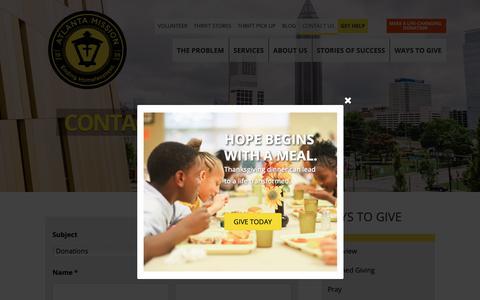 Screenshot of Contact Page atlantamission.org - Contact Us - Atlanta Mission - captured Nov. 6, 2018