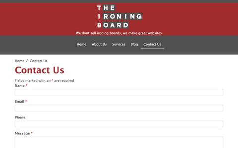 Screenshot of Contact Page theironingboard.co.nz - Contact Us - The Ironing Board - captured Dec. 16, 2016