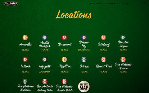 Screenshot of Locations Page fasteddiesbilliards.com - LOCATIONS | Fast Eddie's Sports Tavern & Social Club | Texas & Louisiana - captured Aug. 12, 2018