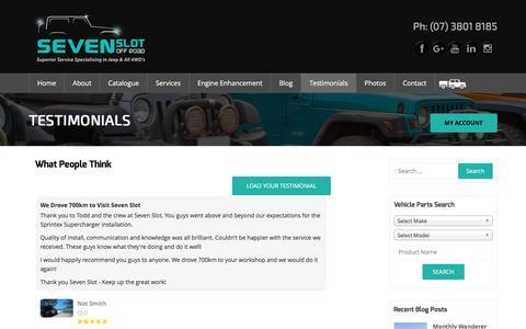 Screenshot of Testimonials Page sevenslot.com.au - Gold Coast Jeep Mechanic - Jeep Repairs Gold Coast Brisbane - captured Nov. 29, 2016