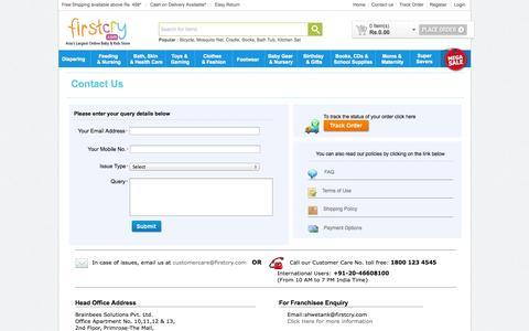 Screenshot of Contact Page firstcry.com - FirstCry.com -Contact Us - captured Sept. 16, 2014