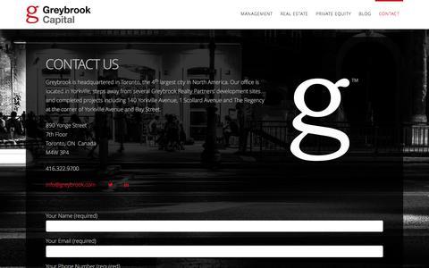 Screenshot of Contact Page greybrook.com - Contact Us | Greybrook Capital - captured Feb. 2, 2016