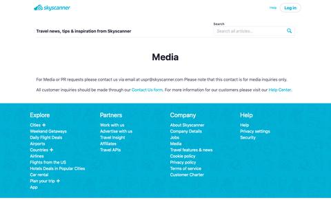 Screenshot of Press Page skyscanner.com - Media   Skyscanner - captured May 29, 2019