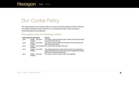Screenshot of Privacy Page hex-group.com - Our Cookie Policy » Hexagon - captured Nov. 8, 2016