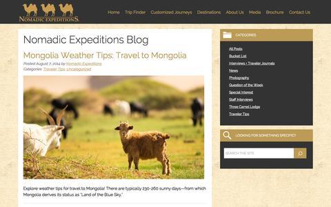 Screenshot of Blog nomadicexpeditions.com - Nomadic Expeditions Blog - captured Oct. 9, 2014