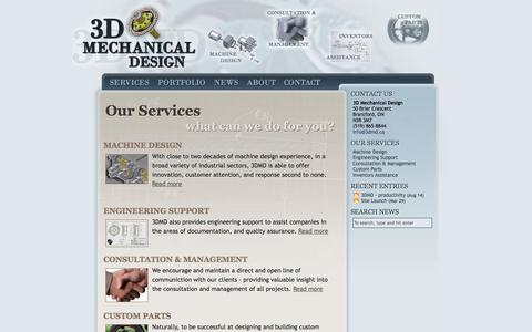 Screenshot of Services Page 3dmd.ca - 3D Mechanical Design | Creating Reality from Concept - captured Oct. 27, 2014