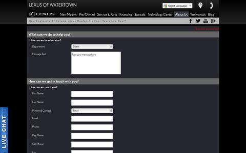Screenshot of Contact Page lexusofwatertown.com - Contact Lexus of Watertown and make us your MA Lexus Dealership - captured Sept. 30, 2014